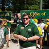 Orientation leader Stan Heaney directs incoming freshman students during orientation at Fairfax campus. Photo by Alexis Glenn/Creative Services/George Mason University