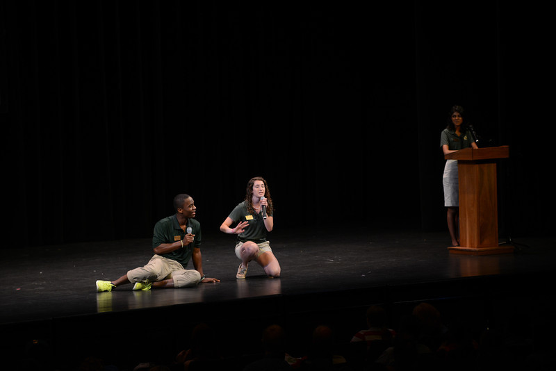 Patriot Leaders welcome the class of 2016 with skits at orientation in the Concert Hall. Photo by Evan Cantwell/Creative Services/George Mason University