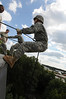 ROTC cadets repelling off of Fenwick Library for a training exercise. Photo by Evan Cantwell.