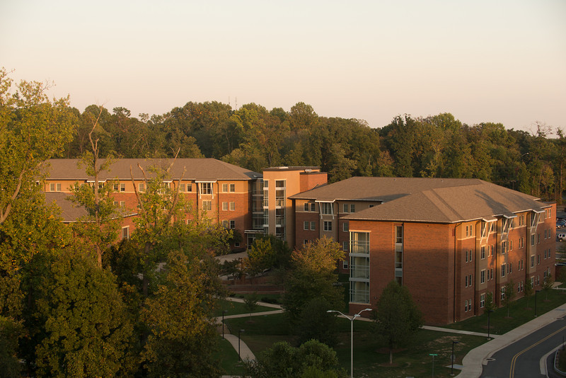 Shenandoah neighborhood of residence halls at dusk. Photo by Evan Cantwell/Creative Services/George Mason University
