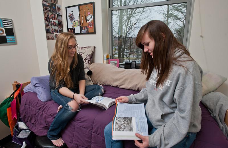 Mason students work inside the Whitetop residence hall on Fairfax campus. Photo by Alexis Glenn/Creative Services/George Mason University