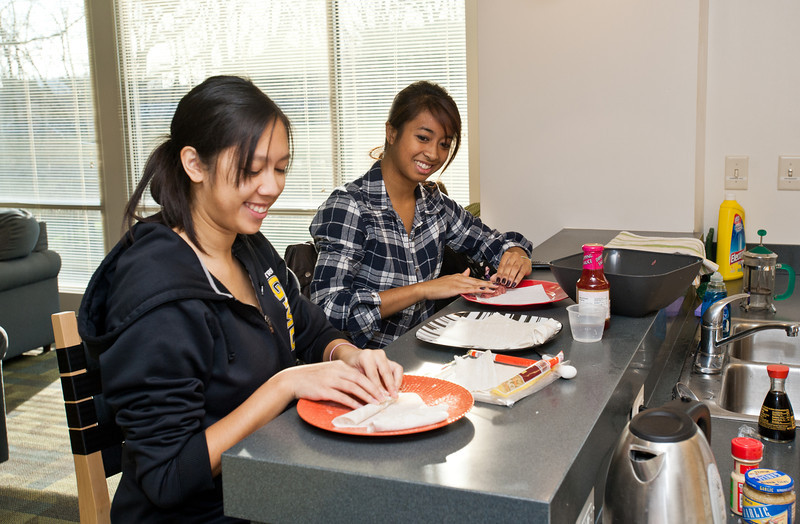 Students prepare traditional Filipino food at Taste of the World, where different international campus organizations take over the pods in Eastern Shore and prepare a sample of a food from the culture that they represent, at Fairfax Campus.