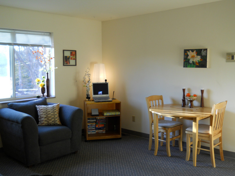 This is the view as you walk in to the apartment. The Cotta Hall apartment comes with a dining table and two chairs.