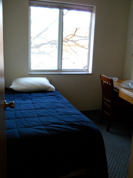 This is the smaller bedroom. It has a twin size bed, desk, and chair. Not pictured are the built in shelves, dresser, and closet. There is a storage area in the basement which residents can store personal items.