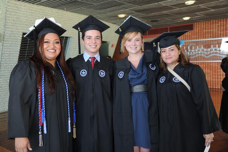 Students Mallory Garza(left) Christopher Amaya, Megan Stoffel and Edith Marcelin. Friday August 7, 2015 at the TAMU-CC Nursing Summer Hooding ceremony.