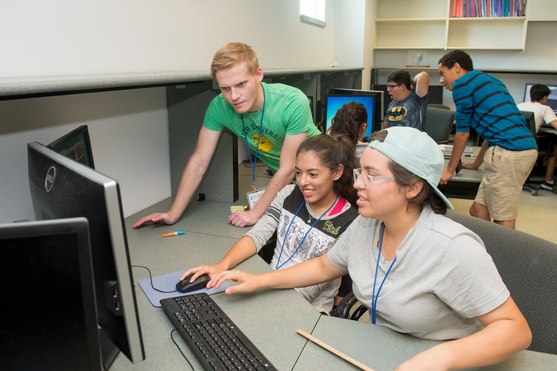 Jared Saklad (left), Kara Rodriguez and Megan Saylors work on projects in AutoCad during the STEM Camp.