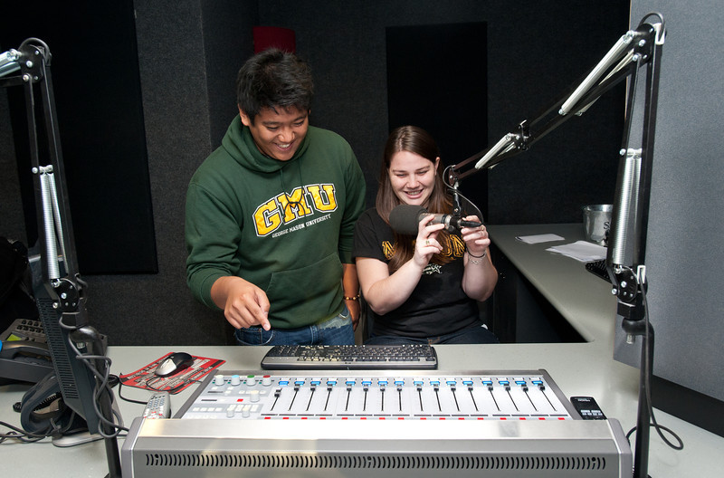 University 100 students visit the studios of the radio station DC 101 in Rockville, Maryland.