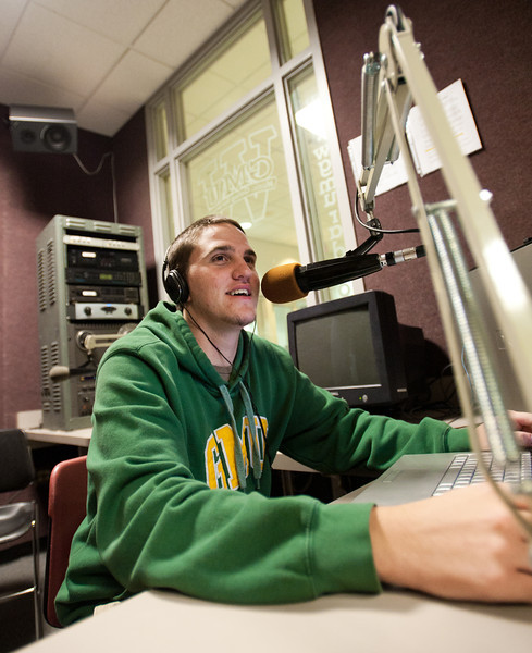 110930504 - Broadside Sports Editor Cody Norman participates in WGMU's Morning Breakdown program. Photo by Alexis Glenn