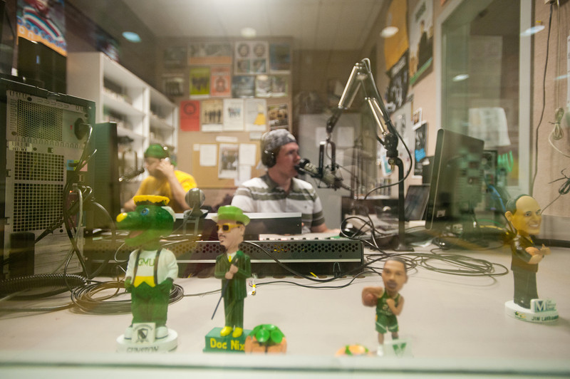 110930508 - WGMU's Morning Breakdown hosts John Powell (R) and Dan Zimmet on the air in WGUM's studio. Photo by Alexis Glenn