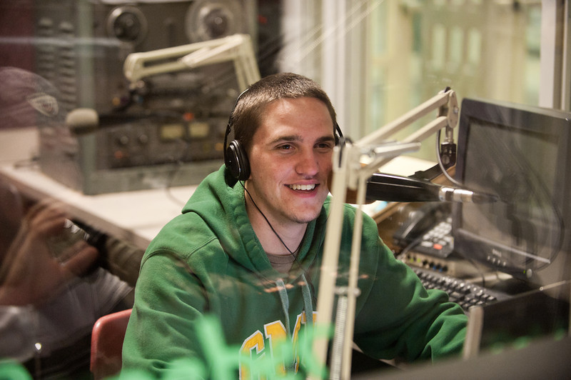 110930505 - Broadside Sports Editor Cody Norman participates in WGMU's Morning Breakdown program. Photo by Alexis Glenn