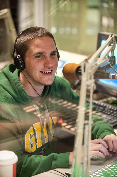 110930503 - Broadside Sports Editor Cody Norman participates in WGMU's Morning Breakdown program. Photo by Alexis Glenn