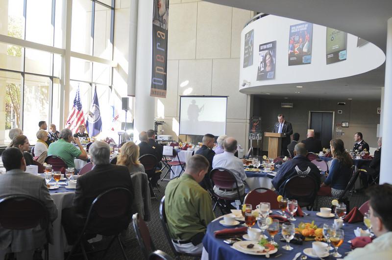 Retired Lt. Gen Kicklighter speaks during the annual Veterans Day Luncheon on November 9, 2012.