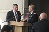 ROTC LTC Paul Kremer presents Ret. Lt Gen. Kicklighter a mug for speaking during the annual Veterans Day Luncheon on November 9, 2012.