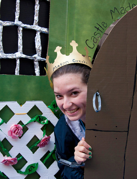 Cassie Graves sits inside her Sororities shack to help raise funds for Habitat for Humanity. Greek fraternities and sororities compete to build the best shack and raise money for habitat for humanity, the competition is part of the annual Greek Week.