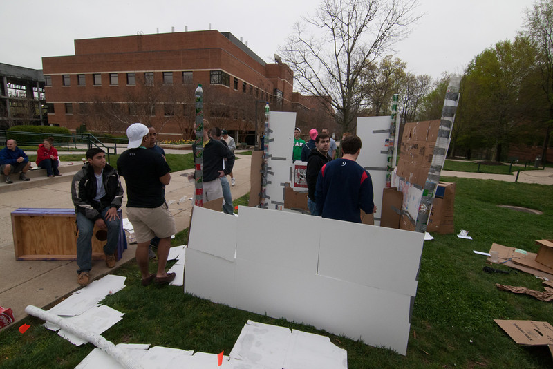Greek fraternities and sororities compete to build the best shack and raise money for habitat for humanity, the competition is part of the annual Greek Week. Photo by Craig Bisacre /Creative Services/George Mason University