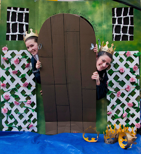 (L) Cassie Graves and Amanda Ferreira sit inside their Sororities shack to help raise funds for Habitat for Humanity. Greek fraternities and sororities compete to build the best shack and raise money for habitat for humanity, the competition is part of the annual Greek Week.