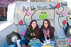 Diana Noth (L) and Nicol Filrucci sit outside their Sororities shack to help raise funds for Habitat for Humanity. Greek fraternities and sororities compete to build the best shack and raise money for habitat for humanity, the competition is part of the annual Greek Week.