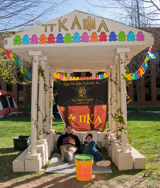 George Mason Greek Sororities and Fraternities construct shacks to help raise funds for Habitat for Humanity. Greek fraternities and sororities compete to build the best shack and raise money for habitat for humanity, the competition is part of the annual Greek Week.