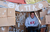 Scott Stewart sits inside his fraternities shack to help raise funds for Habitat for Humanity. Greek fraternities and sororities compete to build the best shack and raise money for habitat for humanity, the competition is part of the annual Greek Week.