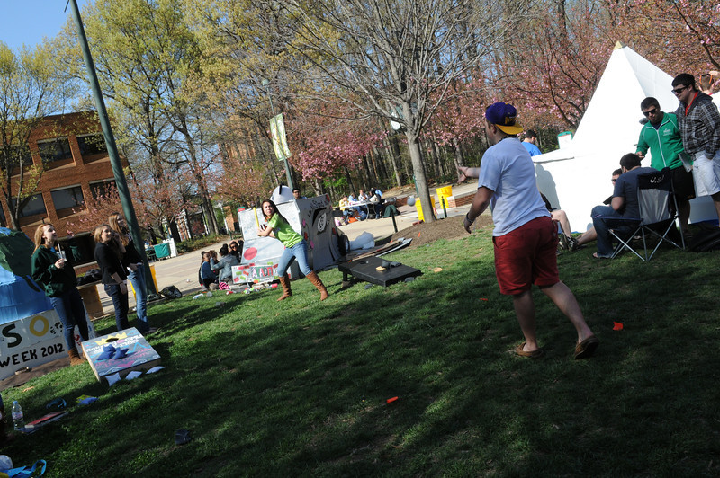 Students attending the Greek Week Shack-A-Thon to raise money for Habitat for Humanity. Photo by Evan Cantwell/Creative Services/George Mason University