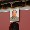 Chairman Mao's photo hanging outside of the Forbidden City