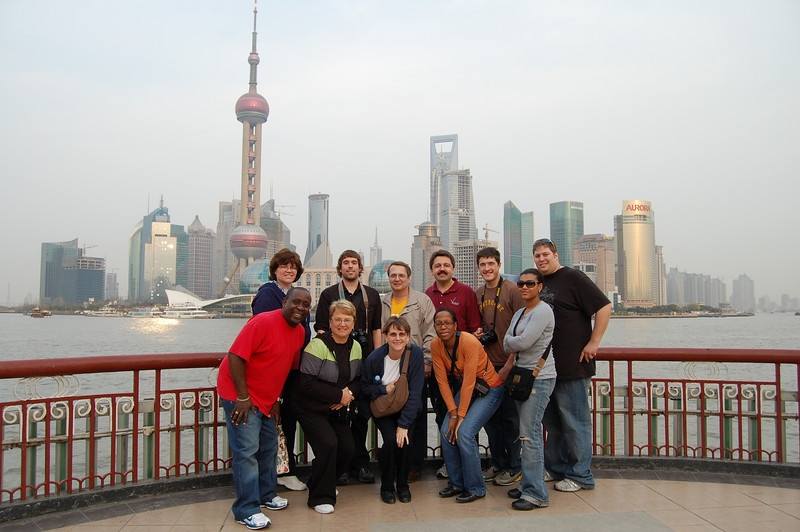 Shanghai group picture taken with the financial district in the background