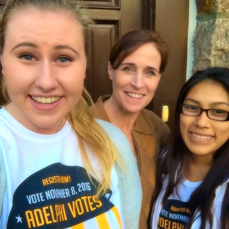 Students Janice Chuquitaype and Jessica (Jess) Jaena knocked on President Christine M. Riordan's door to ask if she'd registered to vote and offered to help her sign up!