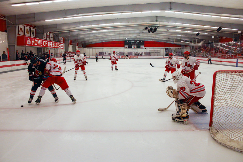 The Ohio State men's club ice hockey team faces the Louisville Cardinals at the OSU Ice Rink in Columbus, Ohio.