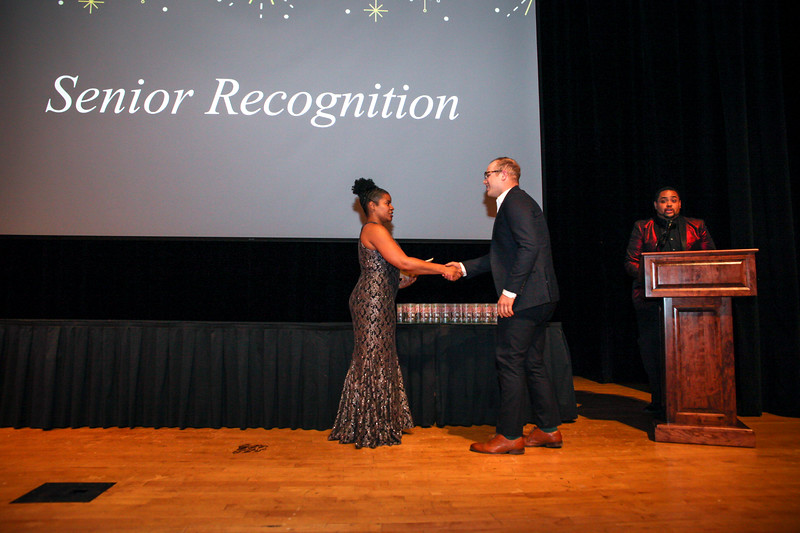 Members and leaders of the Ohio Union Activities Board are recognized for their work at an awards banquet in the Performance Hall of the Ohio Union.