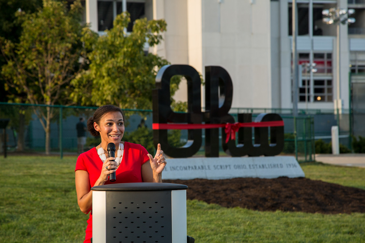 Dedication Ceremony for the new Script Ohio Monument at The Ohio State University (Katherine Seghers - Ohio State University Office of Student Life)