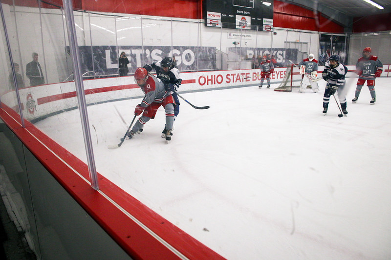 The Ohio State men's club hockey team takes on Xavier at the OSU Ice Rink. Photos by Joseph Thompson (Ohio State Office of Student Life)