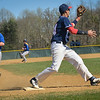 Luis Hildago takes the throw for the putout at third base on a bunt. The Brookdale Community College baseball team hosted and beat both Gloucester on April 24 and Harford on April 25, 2014./Russ DeSantis Photography and Video, LLC
