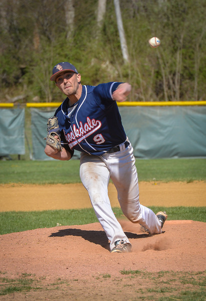 Brookdale's Jake Winston pitches against Gloucester. The Brookdale Community College baseball team hosted and beat both Gloucester on April 24 and Harford on April 25, 2014./Russ DeSantis Photography and Video, LLC