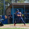 Krystal Pearson (17) hits the ball. The Brookdale Community College softball team beat Ocean County College in the morning game of the Region XIX softball tournament held at Middlesex County College in Edison on Saturday, May 3, 2014./Russ DeSantis Photography and Video, LLC