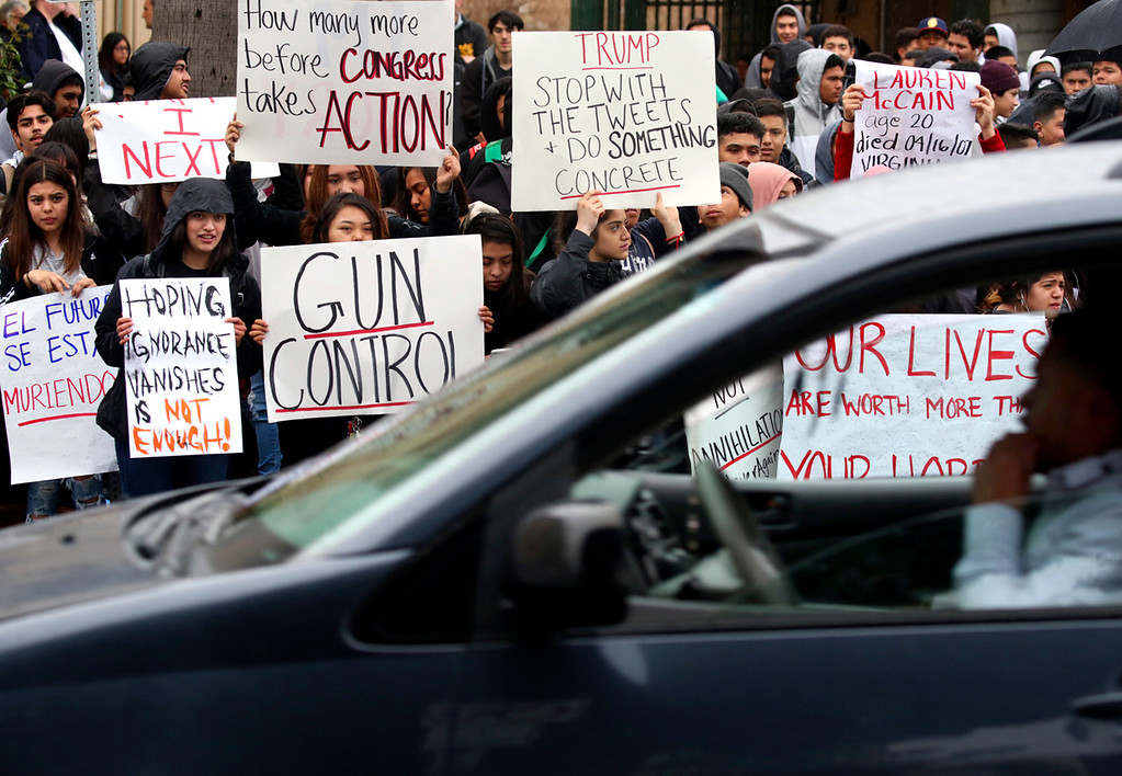 . More than a thousand students at Watsonville High School walked out of classes to protest gun violence Wednesday. (Shmuel Thaler -- Santa Cruz Sentinel)