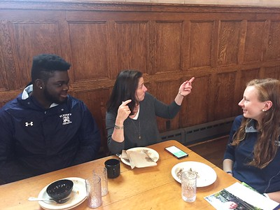 Noelle Leonard, Vice President of the Brantwood Board, with Summer Hornbostel '18 and Tyreese James '18.