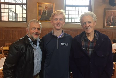 Tom Paugh '19 with Curt Henderson and Linzee Coolidge '55.
