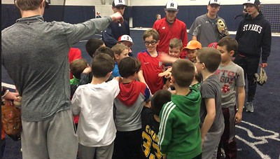 Baseball Team running Clinic for Sboro Little League