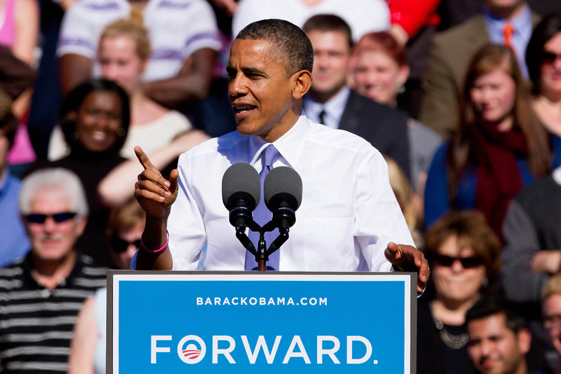 Oct. 18, 2012 - President Barack Obama speaks at a campaign event at Veteran's Memorial Park in Manchester, New Hampshire. Photo by Billie Weiss.