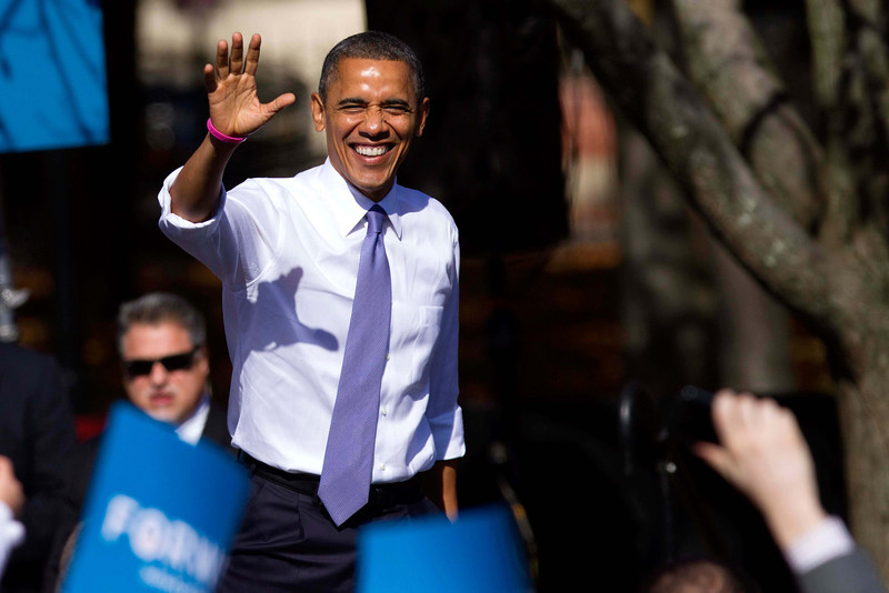 Oct. 18, 2012 - President Barack Obama greets supporters at a campaign event at Veteran's Memorial Park in Manchester, New Hampshire. Photo by Billie Weiss.
