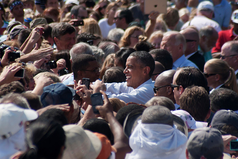 Sept. 7, 2012 - President Barack Obama greets supporters after delivering remarks at a campaign event in Portsmouth NH. Battleground state New Hampshire has been the destination of frequent campaign trips for both Obama and his Republican opponent, former Massachusetts Governor Mitt Romney, during their 2012 presidential campaigns. Photo by Sarah Ganzhorn.