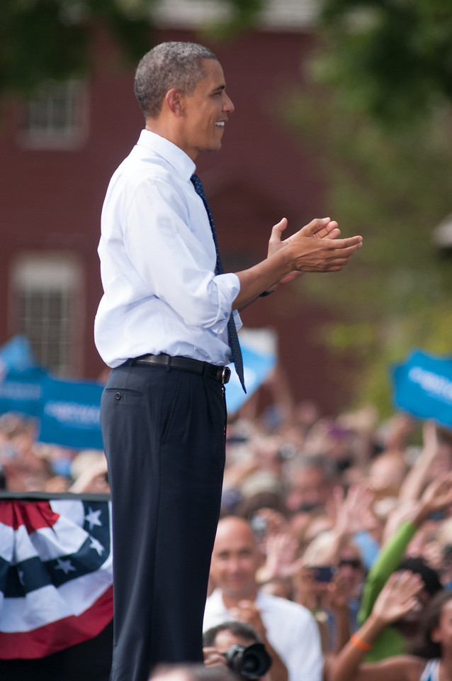 Sep. 7, 2012- President Barack Obama, following his campaign speech to an audience of 6,000 people, in Portsmouth, NH at the Strawbery Banke Museum. Photo by: Jasmin Bleu Pellegrino