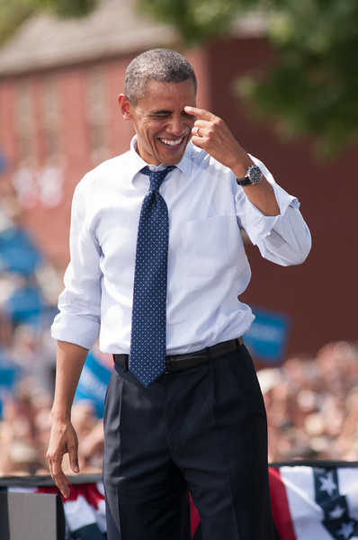 Sep. 7, 2012- President Barack Obama jokes with the audience of 6,000 people, following his campaign speech in Portsmouth, NH at the Strawbery Banke Museum. Photo by: Jasmin Bleu Pellegrino