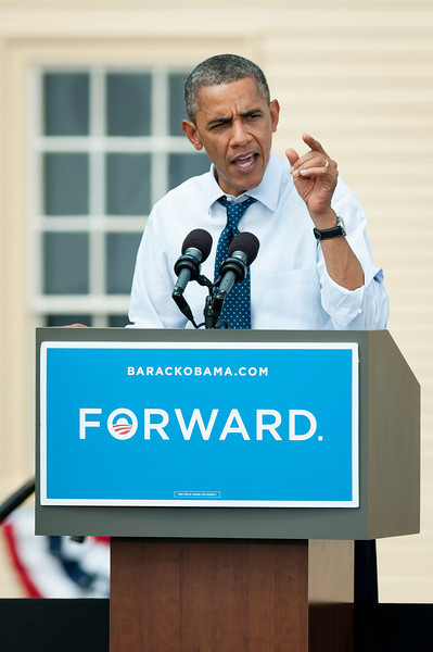 Portsmouth, NH, Sept. 7, 2012 - President Barack Obama speaks to a crowd estimated at over 6,000 by the campaign during a rally at the Strawbery Banke Museum in Portsmouth NH. The president appeared with Vice President Joe Biden, First Lady Michelle Obama, Dr. Jill Biden, Senator Jeanne Shaheen, and Governor John Lynch. Photo/Christopher Weigl