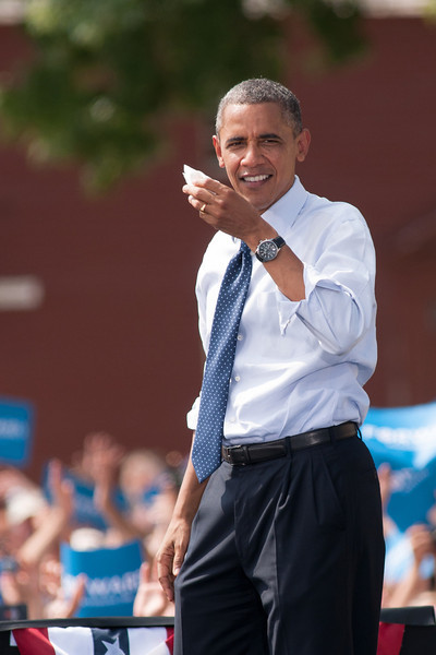 Sep. 7, 2012- President Barack Obama wipes his brow, following his campaign speech to 6,000 people in Portsmouth, NH at the Strawbery Banke Museum. Photo by: Jasmin Bleu Pellegrino