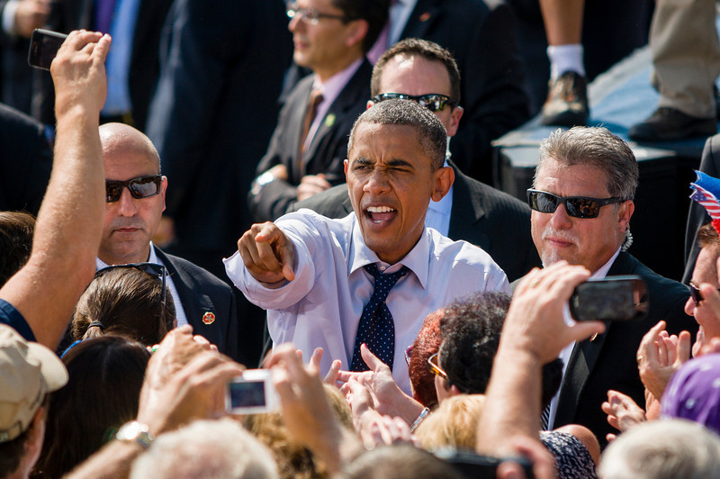 Portsmouth, NH, Sept. 7, 2012 - President Barack Obama greets the crowd estimated at over 6,000 by the campaign during a rally at the Strawbery Banke Museum in Portsmouth NH. The president appeared with Vice President Joe Biden, First Lady Michelle Obama, Dr. Jill Biden, Senator Jeanne Shaheen, and Governor John Lynch. Photo/Christopher Weigl
