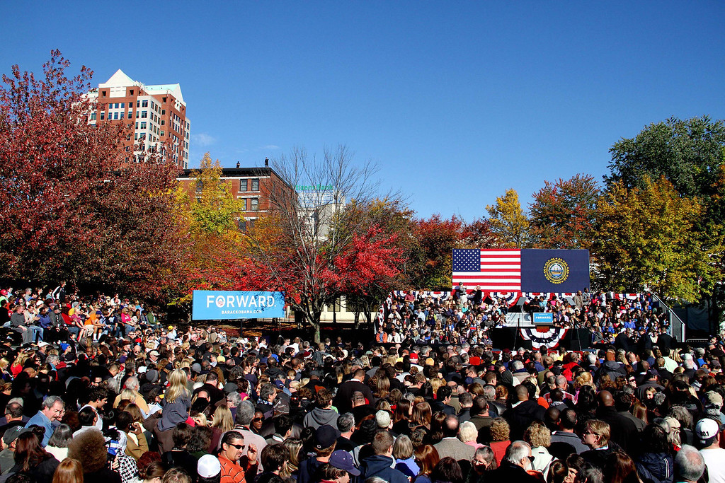 Oct. 18, 2012 - Supporters await the arrival of President Barack Obama at a campaign event at Veteran's Memorial Park in Manchester, New Hampshire. Photo by Billie Weiss.