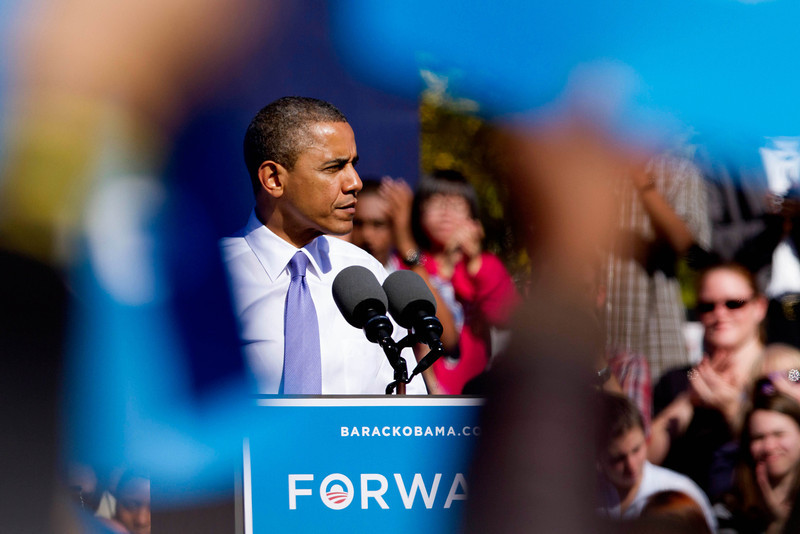 Oct. 18, 2012 - President Barack Obama pauses while speaking at a campaign event at Veteran's Memorial Park in Manchester, New Hampshire. Photo by Billie Weiss.
