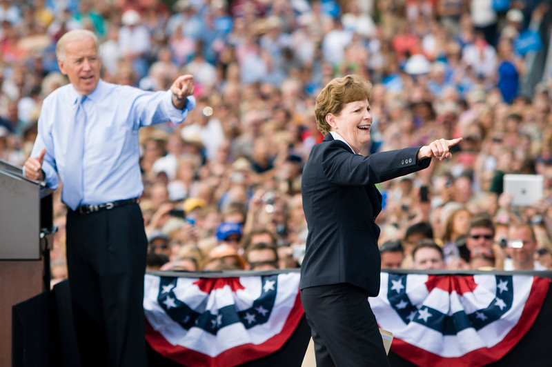 Portsmouth, NH, Sept. 7, 2012 - U.S. Senator Jeanne Shaheen, D-NH, right, leaves the stage at a campaign rally at the Strawbery Banke Museum after introducing Vice President Joe Biden, left. The rally, which included appearances by President Obama, First Lady Michelle Obama, Dr. Jill Biden, and Governor John Lynch, was attended by over 6,000 people according to the Obama campaign. Photo/Christopher Weigl