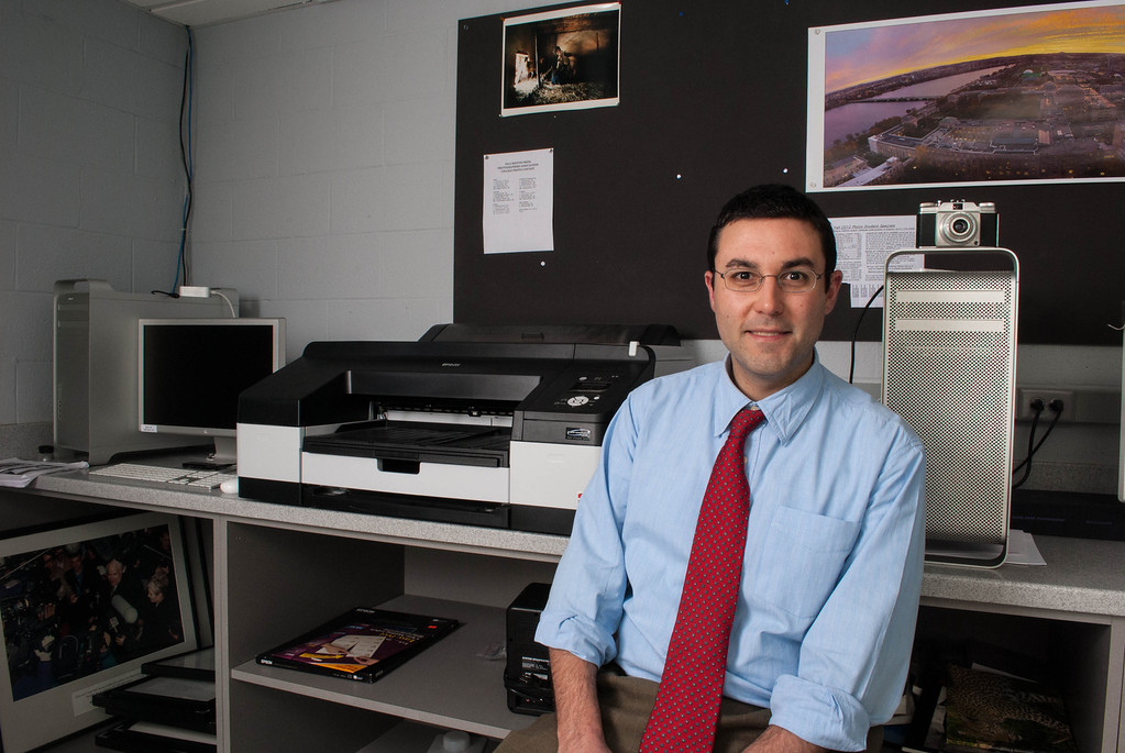 Brad Fernandes, technology director at Boston University, poses for portait in the photography lab in the College of Communication on February 27, 2013.